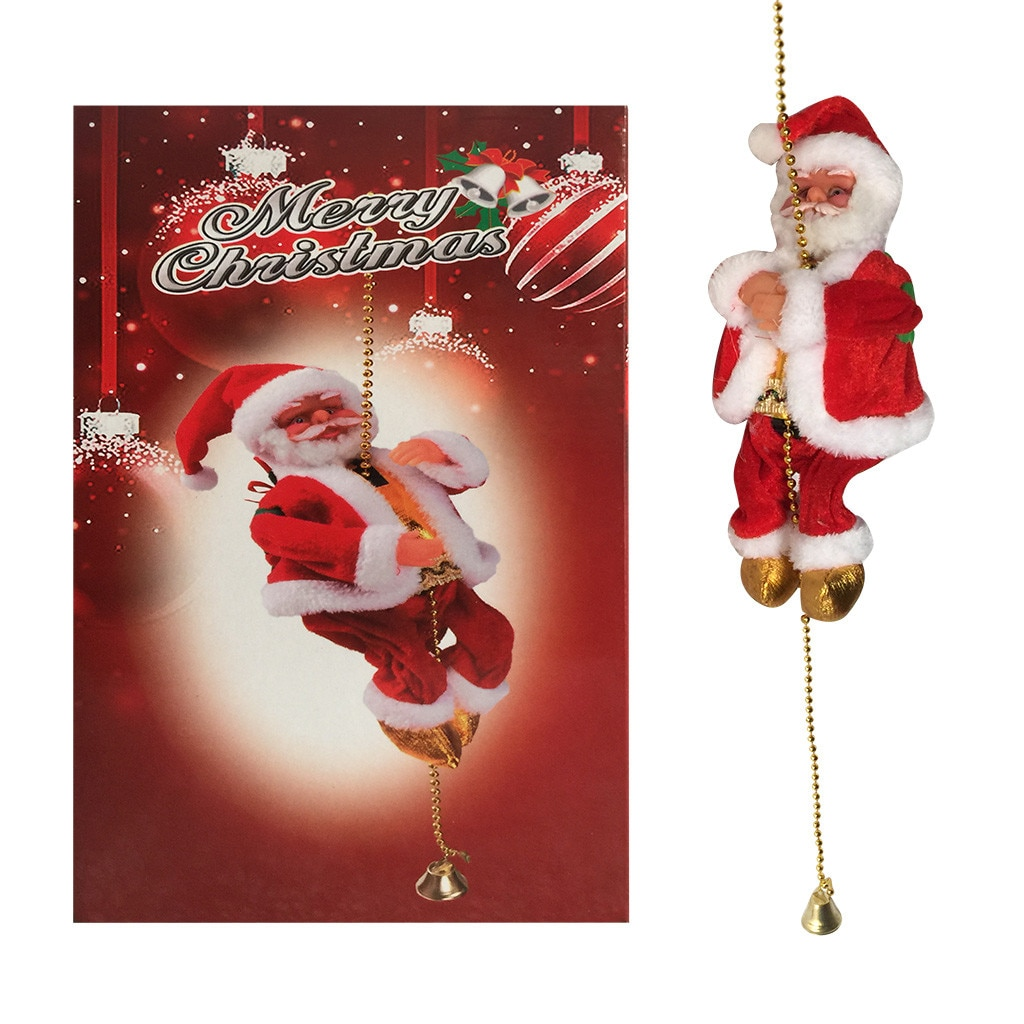Electric Music Climbing Ladder Santa Claus Christmas Figurine Ornament Climb Up The Beads And Go Dow