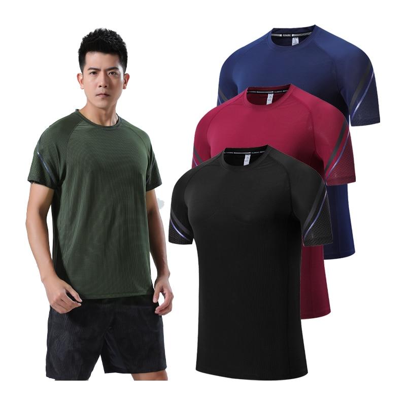 Camiseta deportiva para hombre, transpirable, de secado rápido, camiseta para exteriores, entrenamiento de senderismo, montañismo, pesca, Top, Running, camiseta elástica para hombre