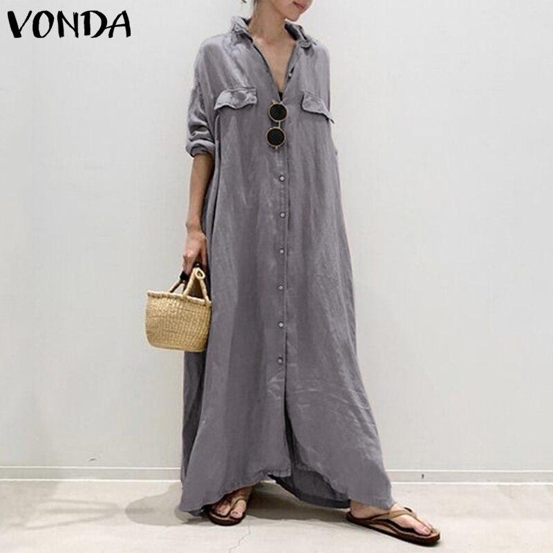 Women Dress Vintage Sexy  Turn-down Collar Buttons Shirt Maxi Long Dress VONDA 2020 Plus Size Party Vestidos Robe Femme S-5XL