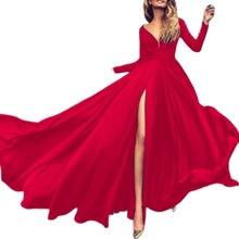 Fluide Multiway Robe profonde col en V plongeant Sukienka drapé Robe Frill Robe Ete 2020 soirée cuisse fente Robe femmes à manches longues
