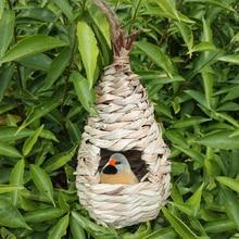 تربية عش الببغاء دائم حديقة الديك المنسوجة قفص الطيور الديكور اليدوية العشب الطيور منزل معلق قفص صديقة للبيئة