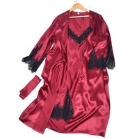 New Silk Nightgown Women\'s Summer Sexy Lace Slip Nightdress Spring and Autumn Homewear Silk Pajamas Two-Piece Set