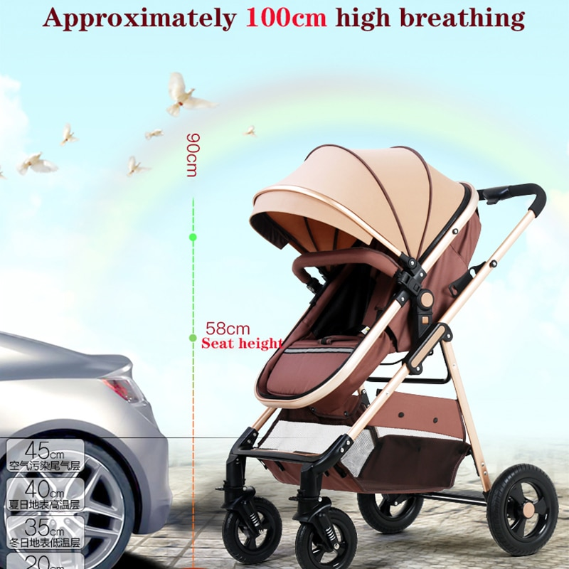 Folding lightweight children's stroller four-wheeler shock absorber high landscape stroller dining chair trolley for children enlarge