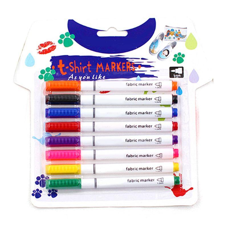8Pcs Clothes Textile Markers Fabric Paint Pens DIY Crafts T-shirt Pigment Paint K3KB