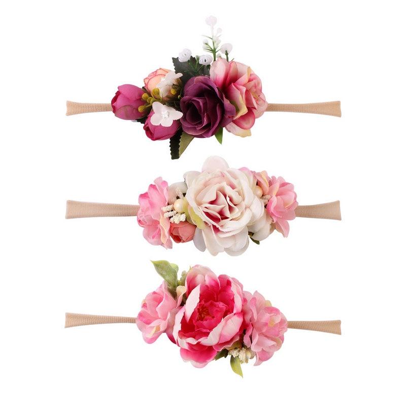 3pcs/set Toddler Newborn Baby Girls Flower Turban Wedding Headband Floral Photography Props