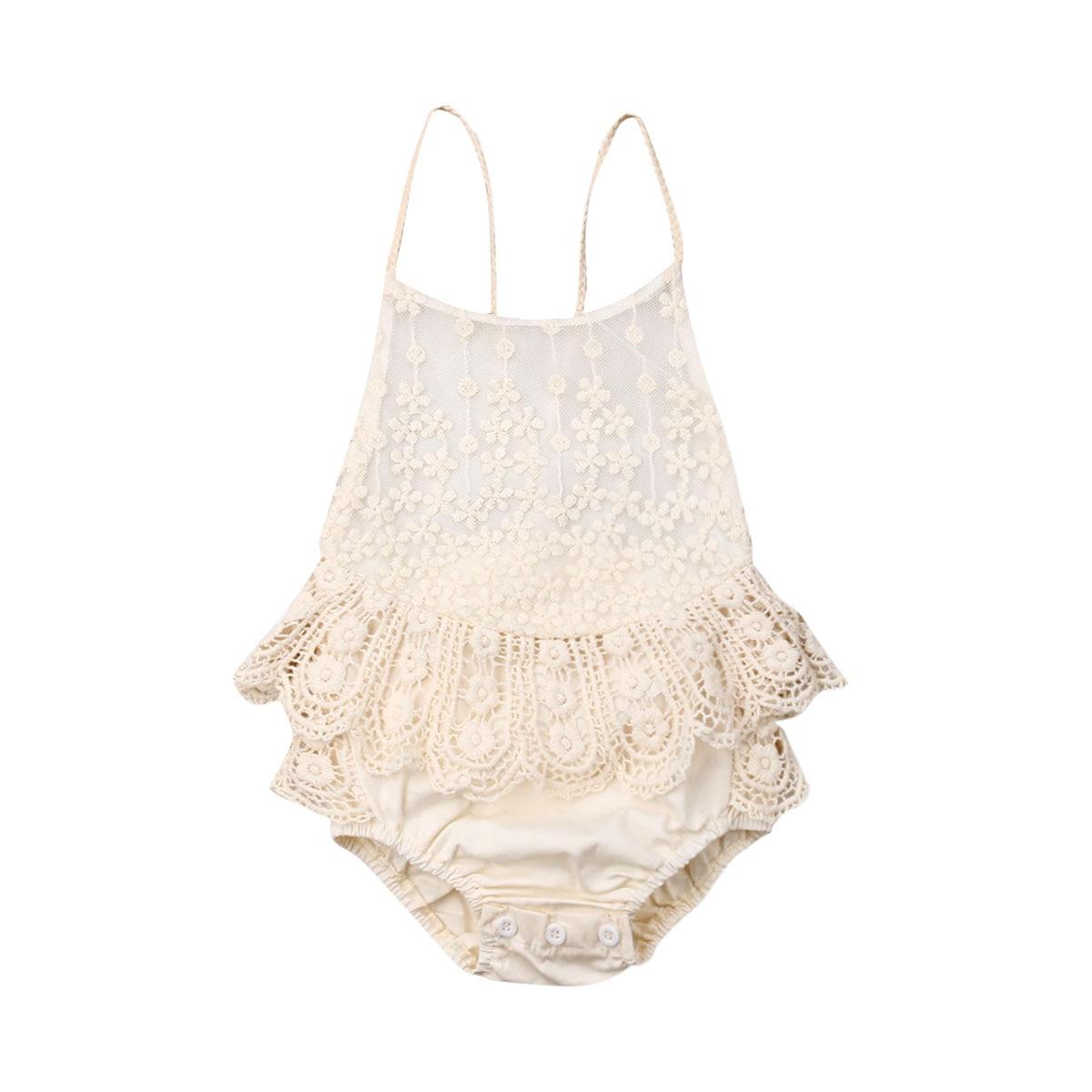 2020 Baby Summer Clothing 0-12M Cute Baby Girl Lace Bandage Bodysuits Sleeveless Ruffle Jumpsuit Cas