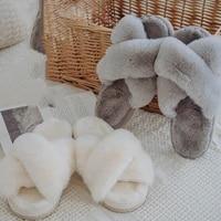 2021 winter new women soft plush furry cross band 3cm heel fur women shoes indoor ladies platform open toe fluffy house slippers