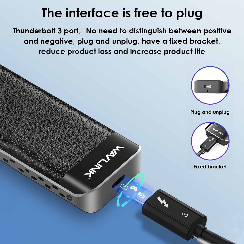 Wavlink USB C NVME SSD Case Type-C M.2 Enclosure Thunderbolt-3 Case M-Key NVMe Connector Excellent Dissipation for Window Mac OS enlarge