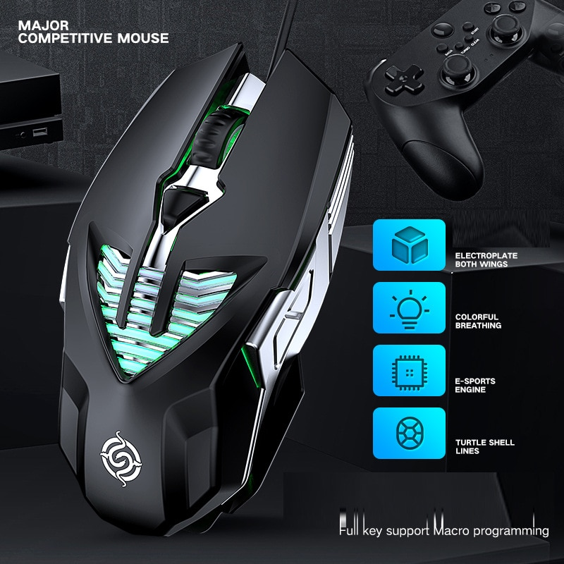 Professional Competitive Game Mouse 6d Electroplating Metal Water-Cooled Light Effect Macro Programming USB Wired Mouse