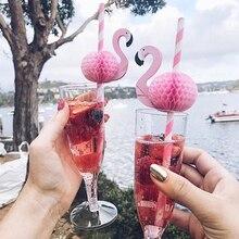 10/20PCS 3D Flamingo Trinkhalme Dschungel Papier Stroh Sommer Pool Party Liefert Hochzeit Decor Erwachsene Rosa Blau flamingo Strohhalme