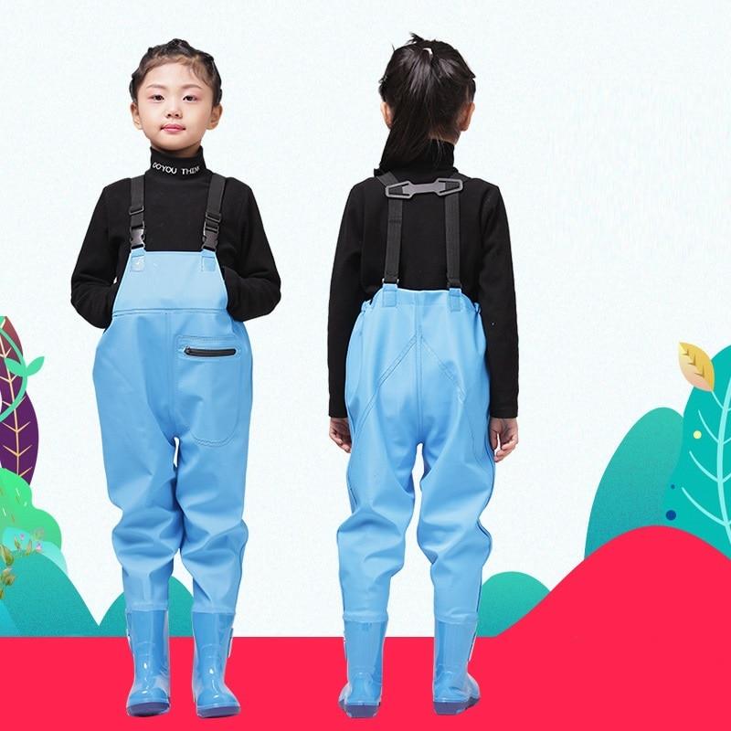 Непромокаемые штаны из искусственной кожи для девочек и мальчиков, непромокаемые штаны детская верхняя одежда детская одежда трикотажная ...