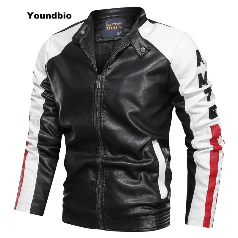 2021 Men Winter Casual Motor Spliced Leather Jacket Men Autumn Fashion Biker Vintage Warm Windbreaker Leather Jacket Coat Men