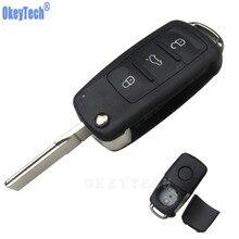 OkeyTech 3 boutons à distance porte-clés coquille de voiture pour Volkswagen VW Jetta Golf Passat coccinelle Polo Bora lame non coupée porte-clés vierge