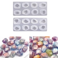2 styles irregular geometric section crystal epoxy resin mold stones ornaments making silicone mould diy crafts home decoration