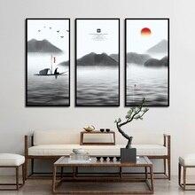 Encre peinture photo minimaliste Style moine lever du soleil nautisme lac gris huile toile peinture maison café décor