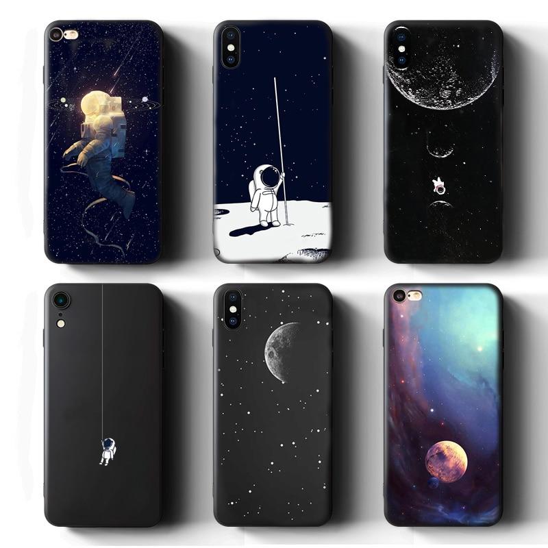Funda de teléfono para iPhone 11 Pro XS Max 7 8 6S 6 Plus 5 S SE XR X funda estrella Luna tierra astronauta suave TPU silicona negro contraportada
