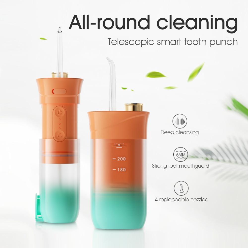 جهاز تنظيف الأسنان بالماء مرواء فموي للأسنان المحمولة القابلة لإعادة الشحن السفر تبييض الأسنان الأنظف قابلة للطي