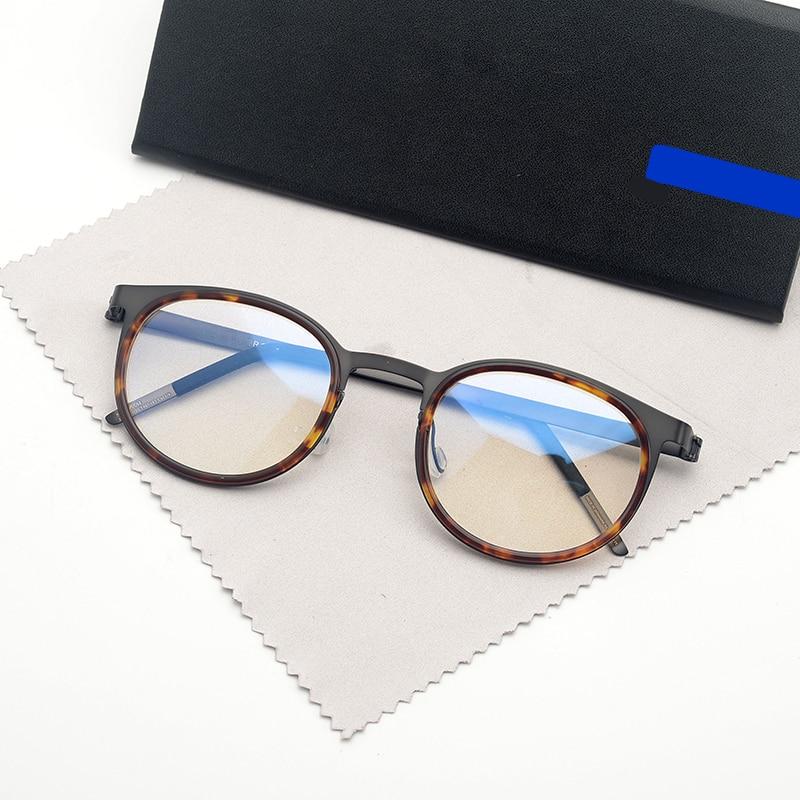 Denmark Brand Design Titanium Glasse Frame Men Women Vintage Circle Eyeglasses with Round Acetate Prescription Oculos De Grau