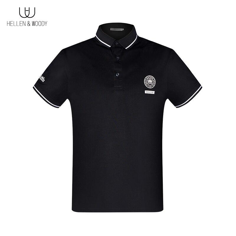 HW الرجال شارة الموضة طباعة قميص بولو التطريز قصيرة الأكمام الفاخرة العلامة التجارية الصيف جديد القطن ملابس بأكمام قصيرة
