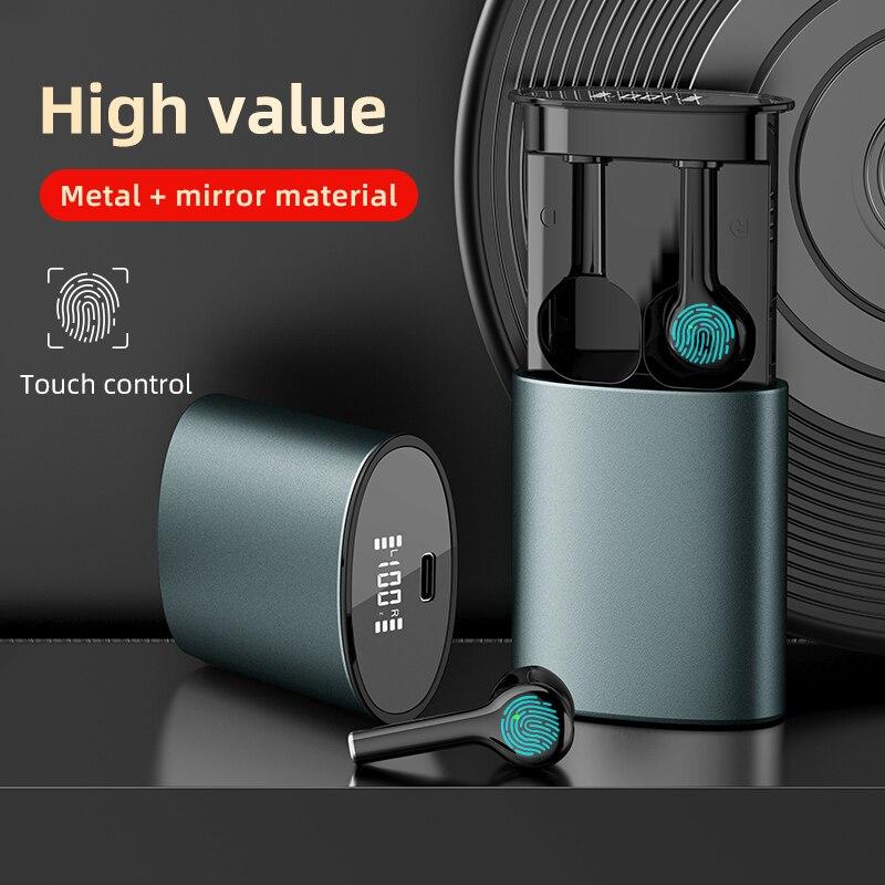 Pull-out estilo bluetooth v5.0 toque operar fone de ouvido espelho display led tws fones de ouvido sem fio para android ios telefone móvel