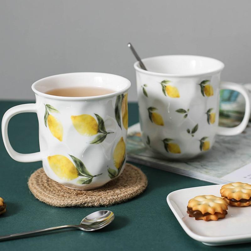 Retro Nordic Coffee Cup with Flowers with Handle Home Milk Espresso Mug Porcelain Caneca Minimalist Coffee Office Mugs MM50MK