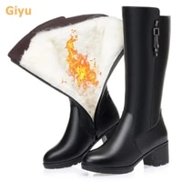 2020 genuine leather womens motorcycle boots knee length warm wool boots high heels winter shoes plus size zipper martin boots