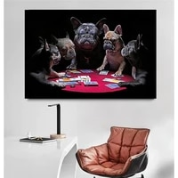 modern funny animal art posters and prints french bulldogs playing cards canvas painting wall pciture for living room home decor