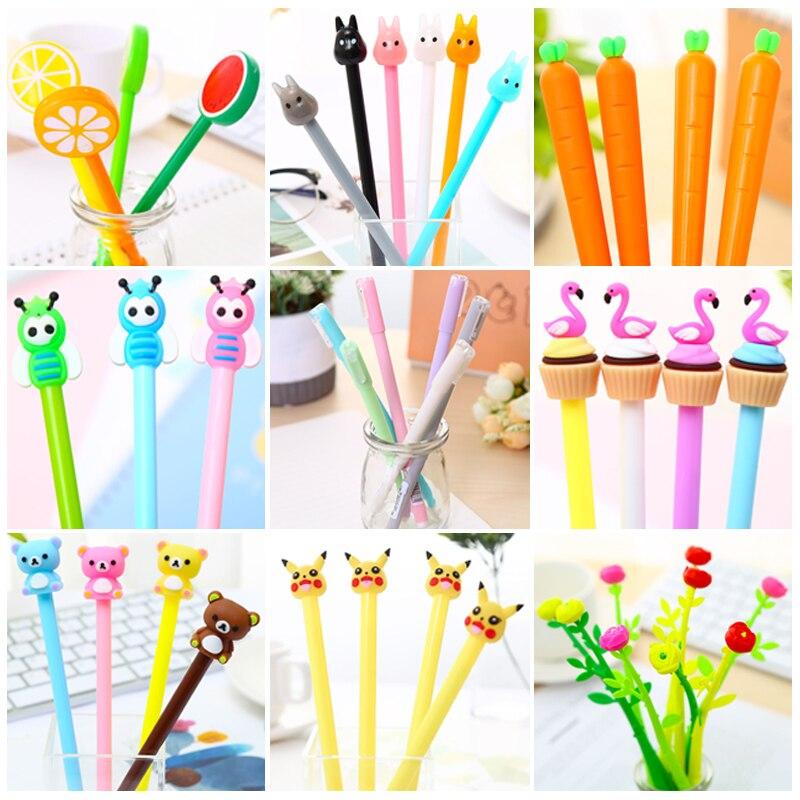 Lindo bolígrafo Kawaii coreano de Gel para gatos Kawai Totoro, bolígrafo de zanahoria, bolígrafo, flamenco, Colegio estacionario tela, Kit de Material, accesorio