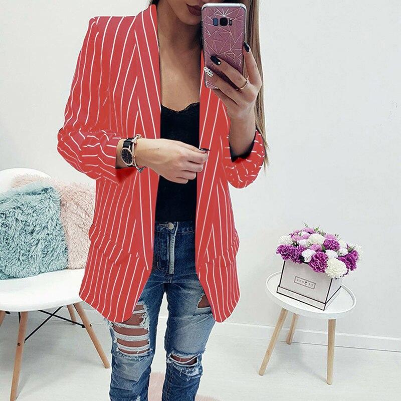 Blazer Women Stripe Suits Sexy Cardigan Long Sleeve Women Casual Blazers And Jackets Autumn Winter C