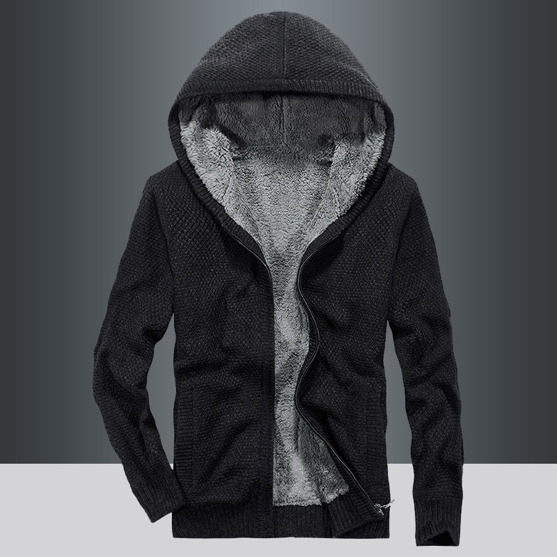 Men Sweater Coat Cardigan Zipper 2021 New Winter Plus Velvet Keep Warm Male Thermal Sweater With A Hood Thick Teenager Boy M67