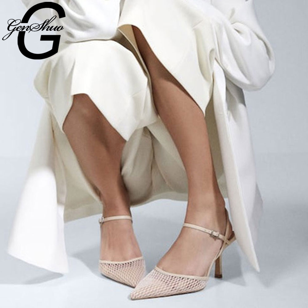 GENSHUO-حذاء نسائي بكعب عالٍ أسود ، حذاء نسائي بكعب عالٍ ، أنيق ، خنجر ، لفصلي الربيع والصيف ، 2020