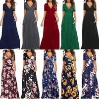 plus size womens dress printed strap temperament v neck sleeve pocket dress plus size bridesmaid dress maxi dresses for women