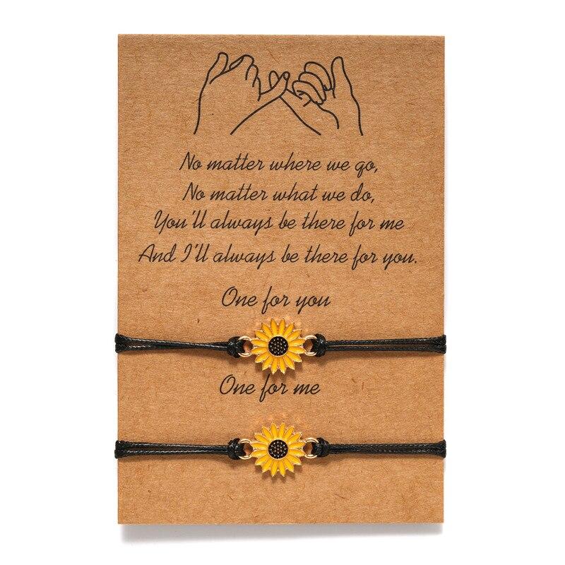 HOT 2pcs Fashion Sunflower Wish Bracelet Adjustable Braided Bracelet Summer Alloy NDS