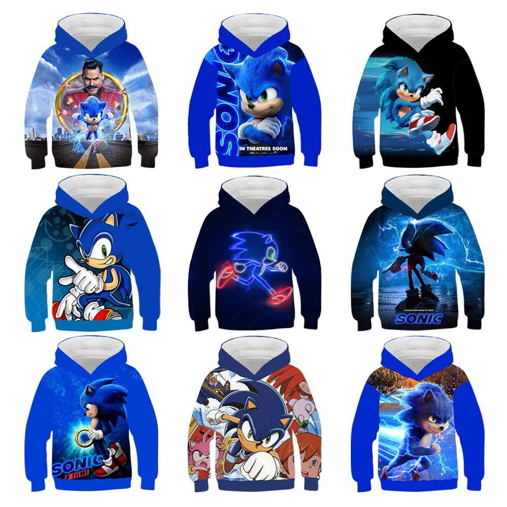 3D Sonic Boys Hoodies Coats Spring Autumn Outerwear Kids Hooded Sweatshirt Boys/ Girls Clothes Long Sleeve Pullover Tops 4-14