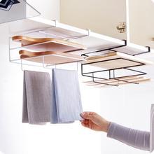خزانة مطبخ جدار معلق لوح تقطيع الحديد المطاوع منشفة رف تخزين الإبداعية التشطيب