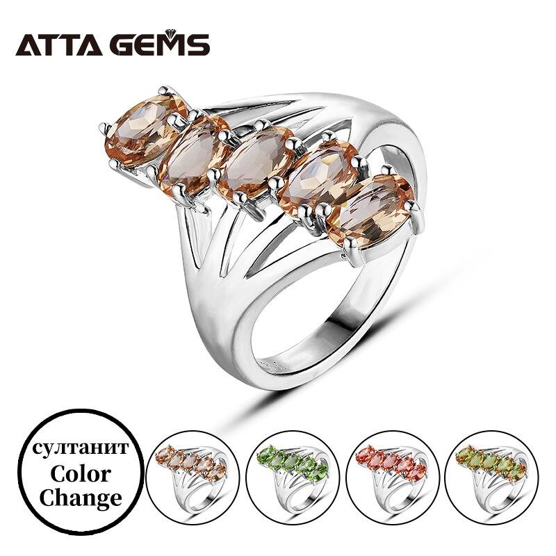 Zultanite-خاتم فضي متعدد الألوان للنساء ، خاتم فضي أصلي مع تغيير اللون