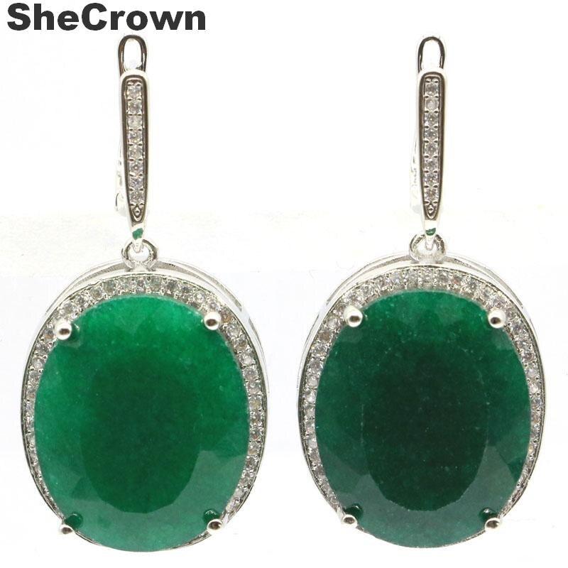 SheCrown, grandes pendientes de plata 17,5 de 40x20mm, ovalados, 22x18mm, 925g, Esmeralda verde Real, Blanco CZ, regalo para mujeres