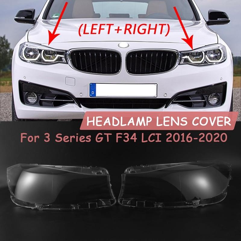 1 زوج ل-BMW 3 سلسلة GT F34 LCI 2016-2020 سيارة عدسة المصباح الأمامي غطاء شفاف عاكس الضوء قذيفة الزجاج اليسار + اليمين