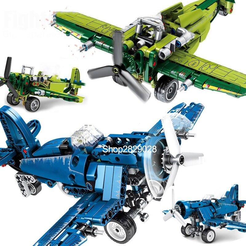Senbao 704100 bloque de construcción Constructor ajuste técnica Militariy W2 nos F4U Spitfire combate helicóptero de guerra avión ladrillos DIY Juguetes