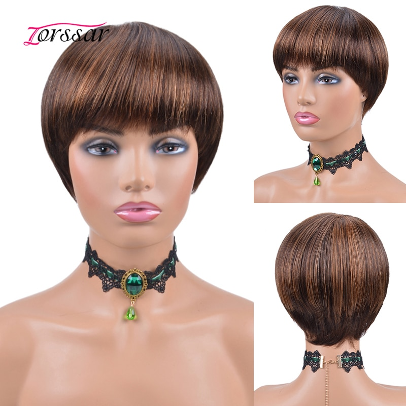 Short Bob Wigs With Bangs Pixie Cut Wigs Brazilian Remy Human Hair Wig For Black Women Ombre Color Full Machine Made Wig