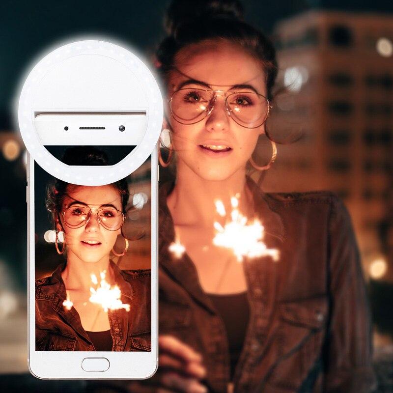 Selfie حلقة مصباح عدسة الهاتف المحمول المحمولة فلاش حلقة 36 المصابيح مضيئة حلقة كليب ضوء آيفون 8 7 6 Plus سامسونج الهاتف الذكي