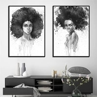 wavy hair girl black white canvas painting woman portrait art posters and prints nordic wall pictures for living room hd3149