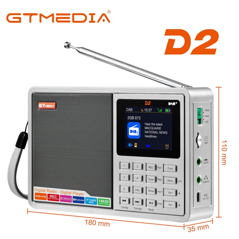 GTMEDIA D2 Portable DAB Radio Digital FM Bluetooth Speaker AUX IN TF Card Slot MP3 Player Recording Clock Alarm Sleep Timer enlarge