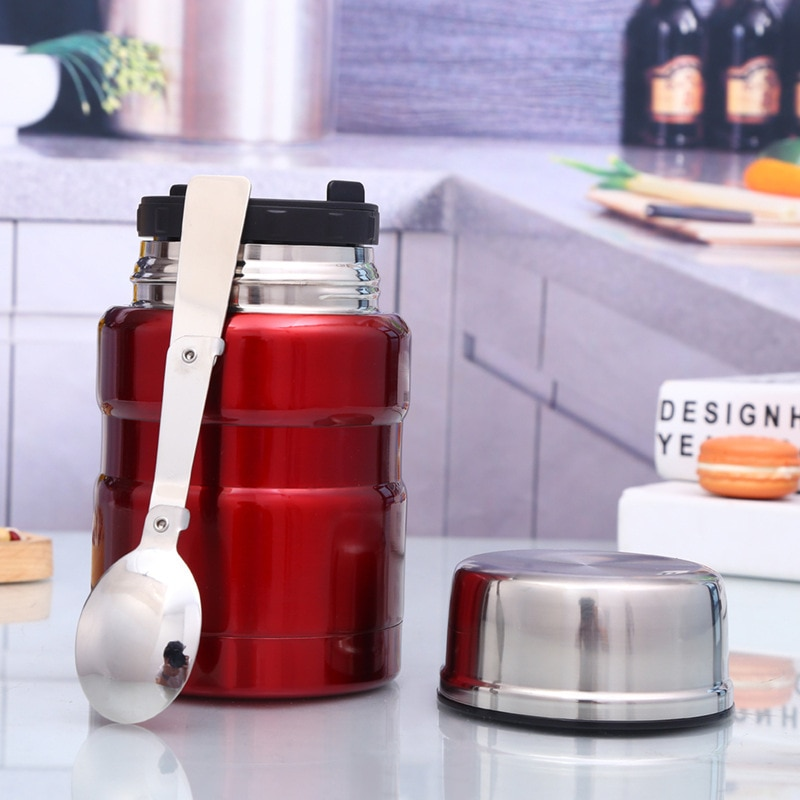 New 304 Stainless Steel 500ml Vacuum Stewing Pot Insulation Lunch Box Portable Leak-Proof Food Container Kitchen Lunchbox