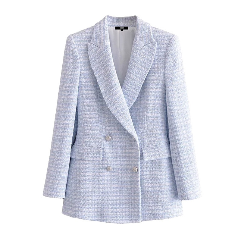 Female Outerwear Chic Veste Women Fashion Double Breasted Tweed Check Blazer Coat Vintage Long Sleev