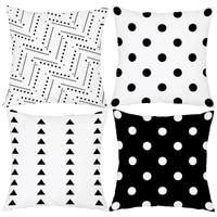 geometric style white black print pillowcase cartoon home decor sofa living room cushion case 4545cm