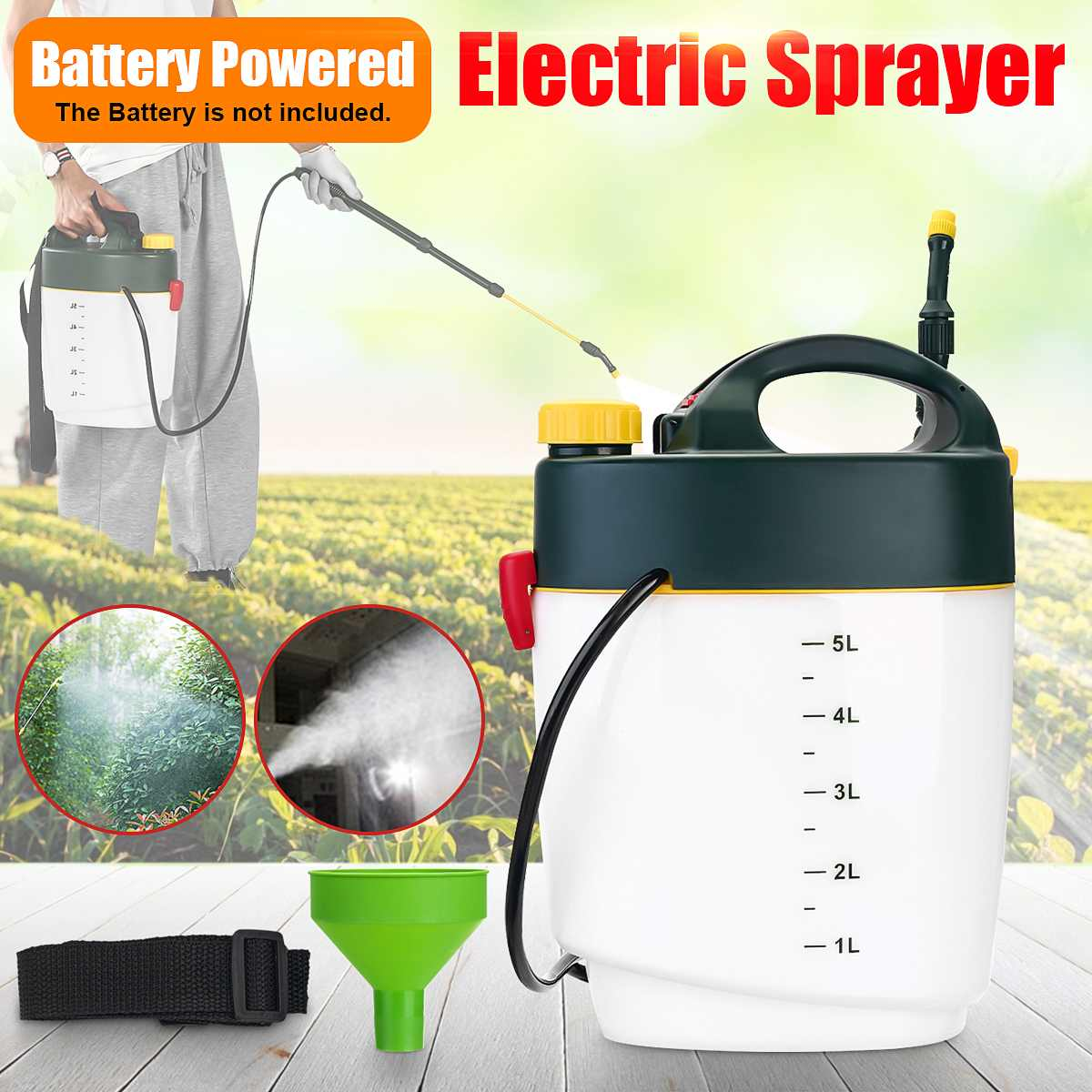 5L الكهربائية ضباب بخاخ الزراعية المبيدات موزع حديقة بطارية تعمل بالطاقة مبيد تطهير آلة بعيدة المدى