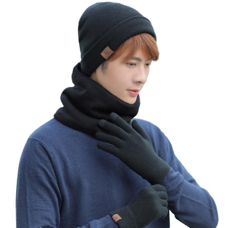 Набор женских и мужских оригинальных перчаток, зимняя вязаная плотная теплая шапка, женская и мужская однотонная Шапка-бини в стиле ретро, м...