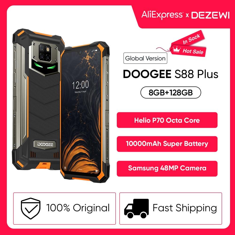 Перейти на Алиэкспресс и купить IP68/IP69K DOOGEE S88 плюс прочный мобильный телефон Глобальная версия 10000 мА/ч, Батарея 48MP Камера 8 ГБ 128 Встроенная память Смартфон Android 10