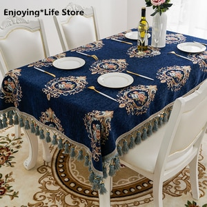 Europe Luxury Wedding Table Cloth Chenille Embroider Rectangle Table Covers with Tassel Navy Blue/Red Tablecloth for Home Decor